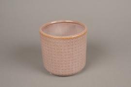 A154VU Cache-pot en céramique rose D13.5cm H13cm