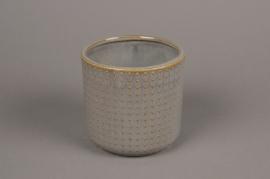 A155VU Cache-pot en céramique gris D13.5cm H13cm