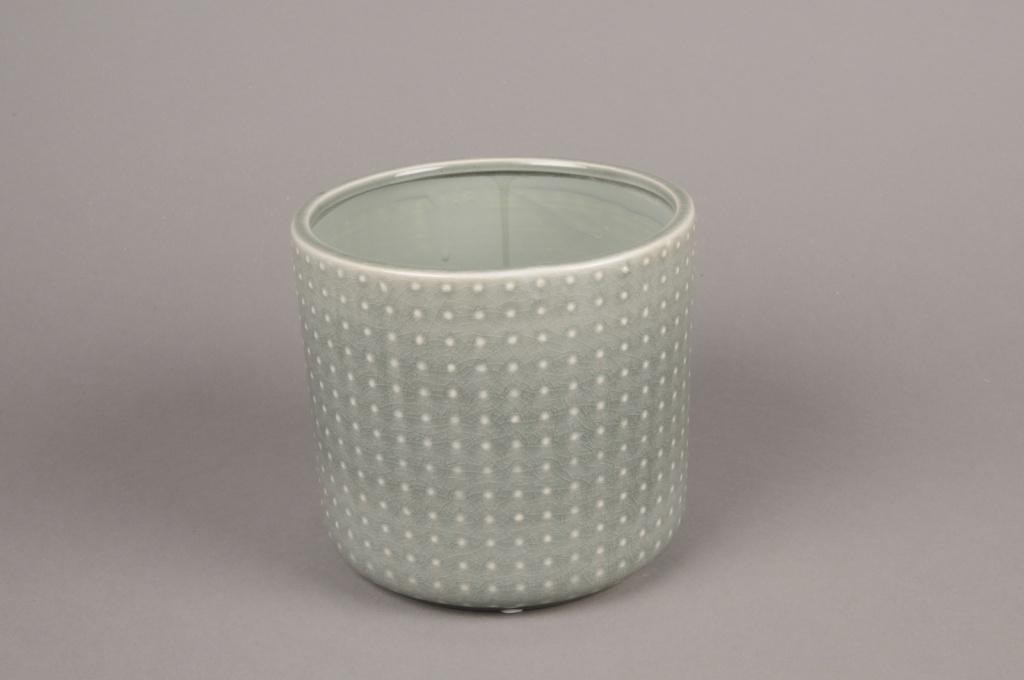 A157VU Cache-pot en céramique vert D16cm H15cm