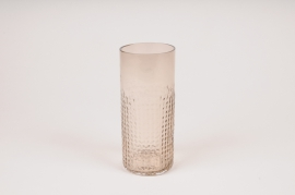 A157W3 Vase verre cylindre taupe D6.5cm H15cm