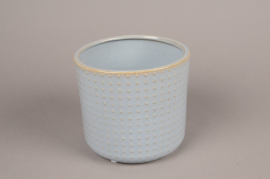 A158VU Blue ceramic planter pot D16cm H15cm