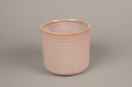 A159VU Pink ceramic planter pot D16cm H15cm