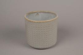 A160VU Grey ceramic planter pot D16cm H15cm