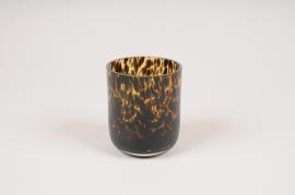 A160W3 Leopard glass vase D8cm H9.5cm