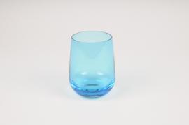 A161W3 Vase en verre obus bleu D8.5cm H11cm