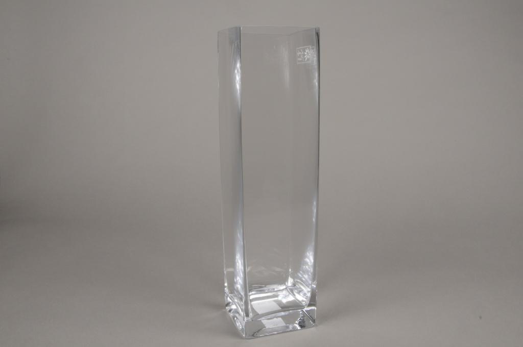 A163I0 Vase carré en verre 8.5cm x 8.5cm H40cm