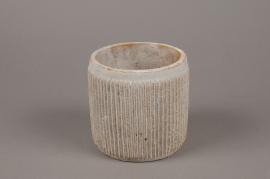 A164Y8 Cache-pot en béton cannelé beige D13cm H12.5cm