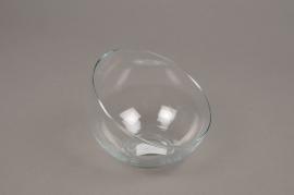A165I0 Vase boule en verre biseauté D12cm H9.5cm