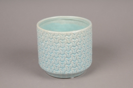 A165LE Planter ceramic blue D15cm H14cm