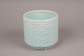 A165LE Cache-pot céramique bleu D15cm H14cm