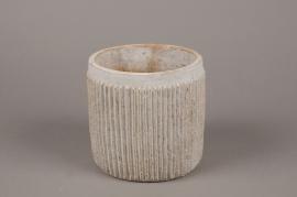 A165Y8 Cache-pot en béton cannelé beige D15cm H15cm