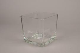 A166I0 Vase carré en verre 16.5cm x 16.5cm H18cm