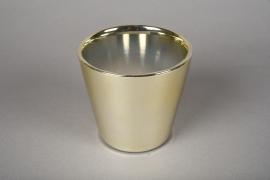 A166VU Cache-pot en céramique or D11.5cm H10cm