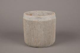 A166Y8 Cache-pot en béton cannelé beige D18cm H18cm