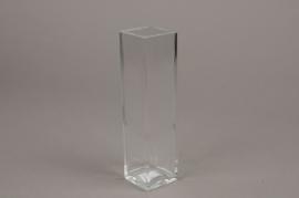 A167I0 Vase carré en verre 5.5cm x 5.5cm H21cm