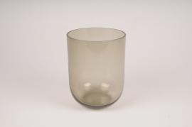 A167W3 Vase verre fumé noir D13.5cm H18cm