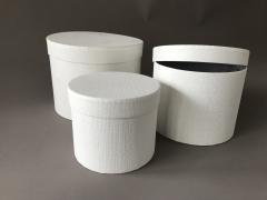 A169UN Set de 3 boîtes en carton blanc D23.5cm H17cm