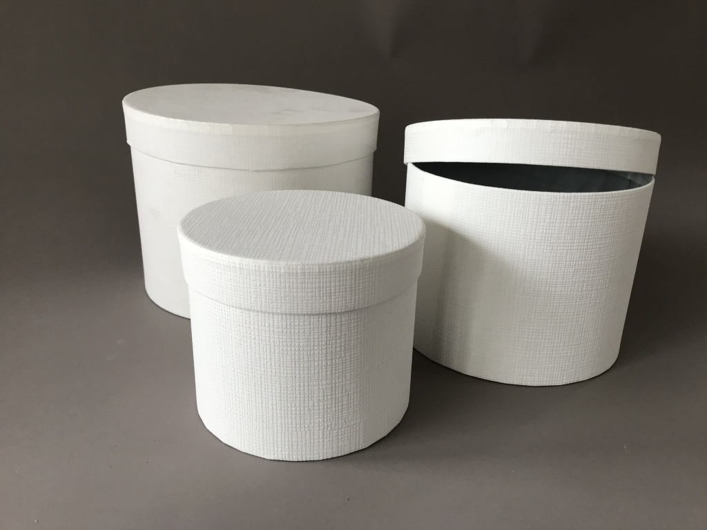 A169UN Set of 3 white cardboard box D23.5cm H17cm