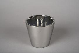 A169VU Cache-pot en céramique argent D11cm H10cm
