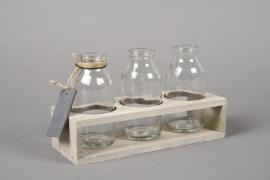 A170I0 Support en bois avec 3 bouteilles H11.5cm