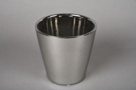 A170VU Cache-pot en céramique argent D13.5cm H13.5cm