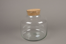A171I0 Glass vase bottle with cork plug D21cm H21cm