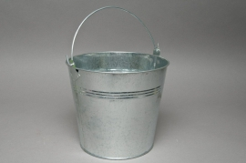 A171KM Natural bright zinc bucket D18cm H17cm