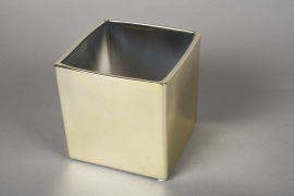 A171VU Ceramic planter gold 12.5x12.5cm H13cm
