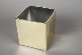A171VU Cache-pot cube en céramique or 12.5x12.5cm H13cm