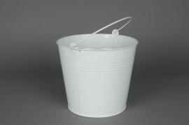 A172KM Natural zinc bucket white D18 H17cm