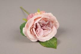 a172nn Rose artificielle mauve H28cm