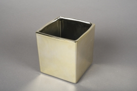 A172VU Ceramic planter gold 10x10cm H11cm