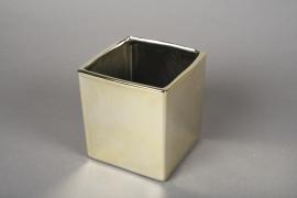A172VU Cache-pot cube en céramique or 10x10cm H11cm