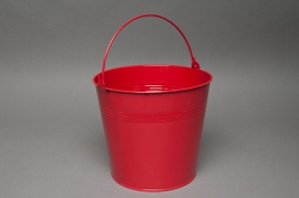 A173KM Zinc bucket bright red D18cm H17cm