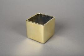 A173VU Cache-pot cube en céramique or 7x7cm H7cm