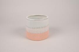 A173Y8 White ceramic planter D11cm H10cm