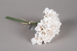 a175nn Bouquet d'hortensia artificiel blanc crème H28cm