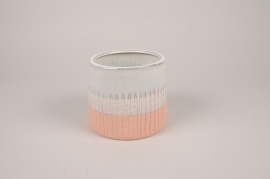 A175Y8 White ceramic planter D15cm H13cm