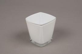 A176I0 Cube en verre conique blanc 6x6 H7cm