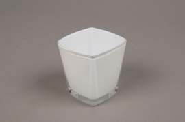 A176I0 white Conic cube glass 6x6cm H7cm