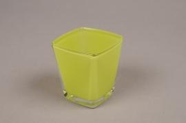 A177I0 Cube en verre conique vert 6x6 H7cm