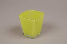 A177I0 Green conic cube glass 6x6cm H7cm