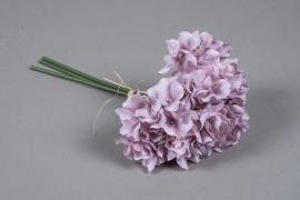 a177nn Bouquet d'hortensia artificiel mauve H28cm