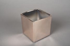 A177VU Cache-pot cube en céramique cuivre 10x10cm H11cm