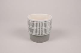 A177Y8 Cache-pot en céramique gris D10cm H11cm