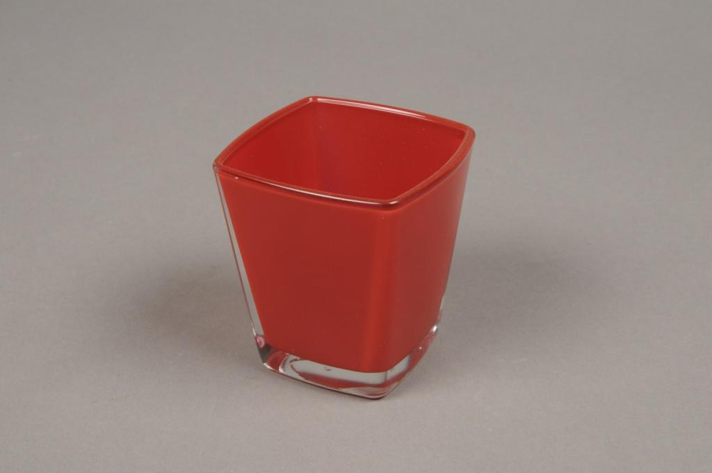 A178I0 Cube en verre conique rouge 6x6 H7cm