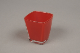 A178I0 Red conic cube glass 6x6cm H7cm