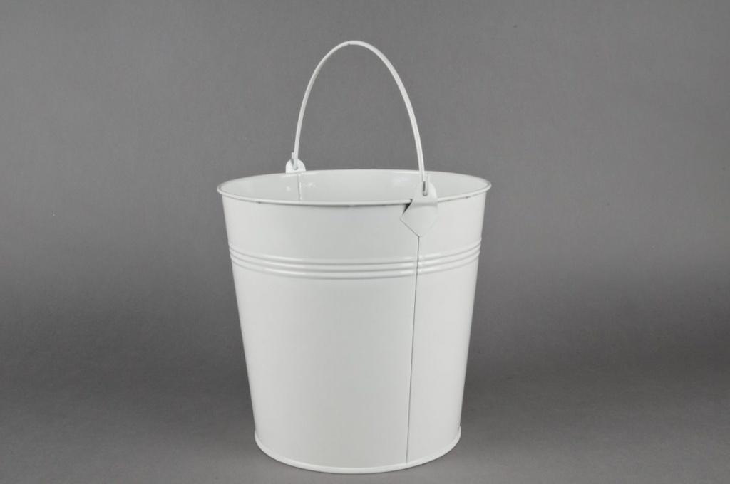 A178KMZinc bucket white D21CM H20cm