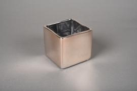 A178VU Cache-pot cube en céramique cuivre rosé 7x7cm H7cm