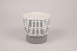 A178Y8 Cache-pot en céramique gris D13cm H13cm
